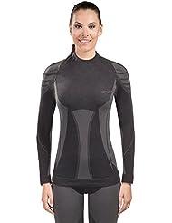 Spaio Merino Camiseta de mujer de mangas largas, negro/gris, M