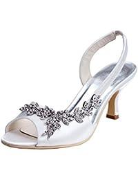 Minitoo - Zapatos de vestir de satén para mujer, color blanco, talla 35