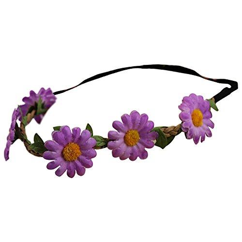Bandeau-SODIAL(R) Femmes Style Boho Floral Fleur Bande de cheveux Bandeau pour Mariage Partie Festival (Violet)