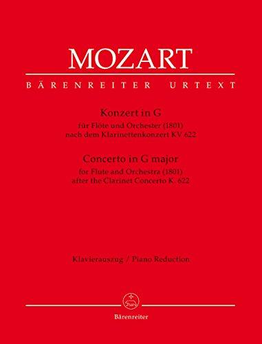 Konzert für Flöte und Orchester G-Dur (1801) -In einer Bearbeitung von A. E. Müller nach dem Klarinettenkonzert KV 622-. Klavierauszug, Stimmen, Urtextausgabe