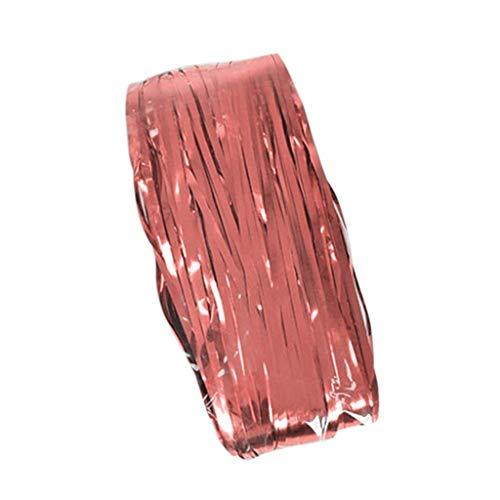Xmiral Türvorhang Aluminiumfolie Streifen Quaste Gardine Hochzeit Geburtstagsparty Party Dekoration Scheibengardine(Rosa Gold,3m x 1m(1 Stück pro Packung))