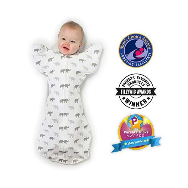 Amazing Baby - Saco de dormir para bebé con brazos, Elefantes pequeños azules, Azul, Medium (3-6 Month) 6