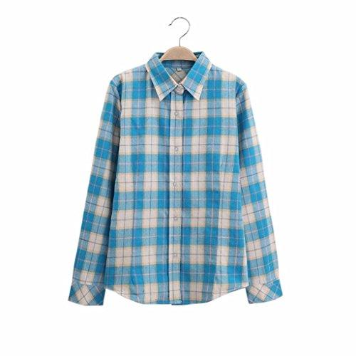 Oyedens Damen Feder Lange ÄRmel Baumwolle Wildes Kariertes T Shirt Blau