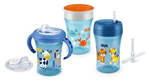 NUK 3-in-1 Trinklern-Set, mit Trainer Cup Trinkbecher Baby, Magic Cup 360° Trinklernbecher und Action Cup Trinklernflasche, 6+ Monate, 230ml, BPA-frei, blau