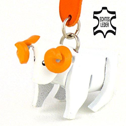 Schaf Shaun - Deko Schlüsselanhänger Figur aus Leder in der Kategorie Stofftier / Plüschtier von Monkimau in weiß - Dein bester Freund. Immer dabei! - ca. 5cm klein