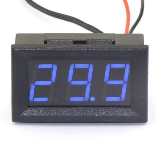 DC 12V Digital Thermometer -50~110 ℃ Temperatur Detektor LED-Anzeige Test Temperature Sonde mit Temperaturfühler (Blau)