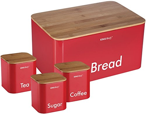 Kinghoff 4 Piece Kitchen Storage Includes Bread Bin Tea Coffee