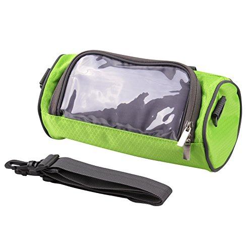 SUNNIOR Fahrradlenkertasche mit Telefon-Touch-Screen-Fenster Halter Persönliche Accessoires Tragebeutel , Wasserdicht(Grün)