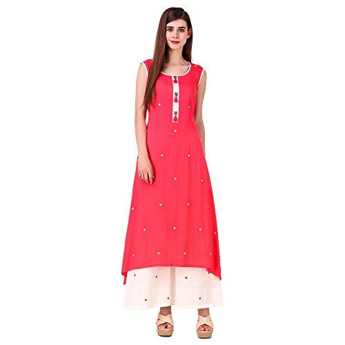 Sreshee Women's Premium Cotton Designer Kurti with Palazzo Pants Set (Coral, Small)
