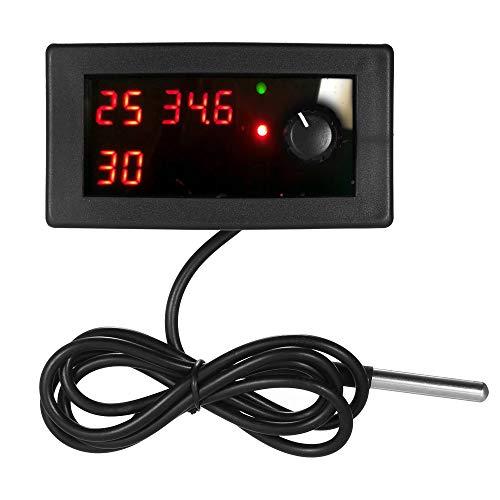 Leepesx DC12V Digitale Kühlung/Heizung Thermostat Temperaturregler Temp Control Single Circuit-55~125 ℃ 10A Relais mit Wasserdichte Sensor Sonde -