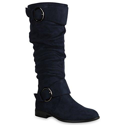 Stiefelparadies Klassische Damen Schuhe Stiefel Veloursleder-Optik Boots Leicht Gefüttert 152125 Dunkelblau Bexhill 39 Flandell