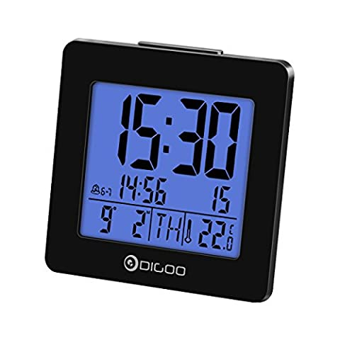 Alarm Clock Thermometer, Digoo Digital Alarm Clock Thermometer with Calendar Date & Temperature Display Alarm Clock, Blue Backlit LED Large Screen