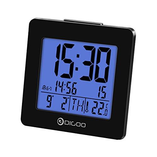 Alarm Clock Thermometer, Digoo Digital Alarm Clock Thermometer with Calendar Date & Temperature Display Alarm Clock, Blue Backlit LED Large Screen Black
