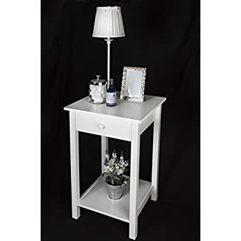 (53175 Square) Elegant White Wooden Square Side Table, One Drawer And Lower  Shelf