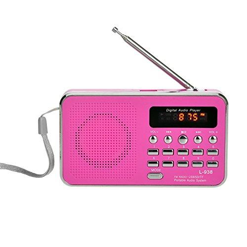 iMinker Mini-Digital-beweglicher FM Radio tragbares Lautsprecher MP3-Musik-Spieler TF/SD Karte USB-Scheiben-Hafen für PC iPod-Telefon mit LED-Anzeige und Akku (Rosa)