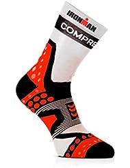Compress port Pro Racing Socks Ultralight Run High Cut Ironman Edition–EN tri226Special–Unidad Running Marathon calcetín calcetín, color Blanco - blanco, gris, tamaño T1
