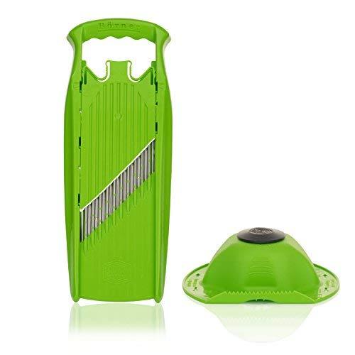 Börner Welle-Waffel Set mit Fruchthalter in grün - Crinkle Cutter - Zerkleinerer