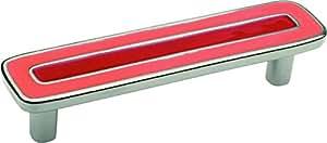 Sofoc 8875539 Mozaic Long Poignée de Porte ou Tiroir de Meuble et Placard Zamak Nickel Mat/Métal Rouge et Rose 12 x 2,5 x 3 cm