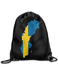 Yesliy Bandera Sueca en Suecia Mapa de País con Cordón Mochila Bolso Boca Yoga Sack Bolsas
