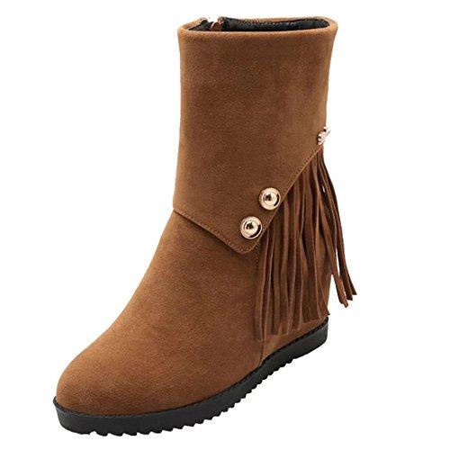 AIYOUMEI Damen Keilabsatz Stiefeletten mit Fransen High Heels Ankle Boots Fransenstiefel Bequem Schuhe