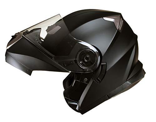 Qtech Casco MODULARE per Moto con Integrale Doppia Visiera - Nero Opaco - M (57-58cm)