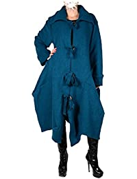 Italy Donna Damen Wolle Lagenlook Wintermantel Mantel Swinger Trench Coat  42 44 46 48 M L XL XXL Blau… a811116954