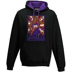 Sudadera capucha Bico Baloncesto Vintage parodia Charles All Star Barkley 1Hombre, XKFBA01773_S, Jet Black-Purple, Small