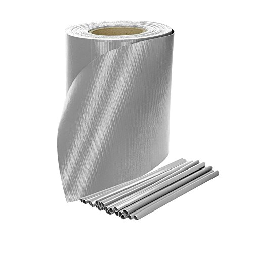 ECD Germany Brise vue occultant renforcé Rouleau de 65m x 19cm 13m² PVC Film de Protection Visuelle Couverture de clôtures Gris avec 30 clips de fixation
