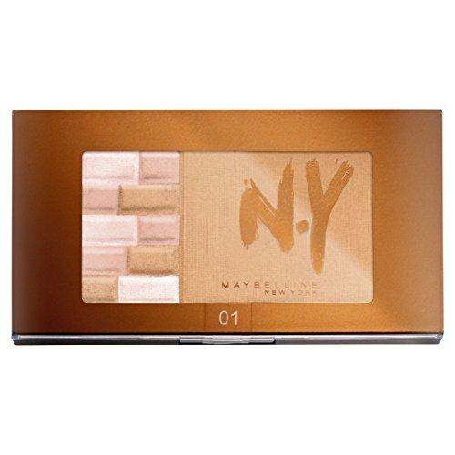 Maybelline Bricks Bronzer, Bronzing-Puder und Highlighter in einer Palette, zaubert einen leicht gebräunten und strahlenden Teint, 7 g - Blush Bronzer