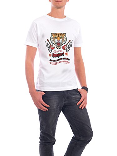 "Design T-Shirt Männer Continental Cotton ""Rockabilly Tiger"" - stylisches Shirt Fashion Musik von Amely Sharon Maacken Weiß"