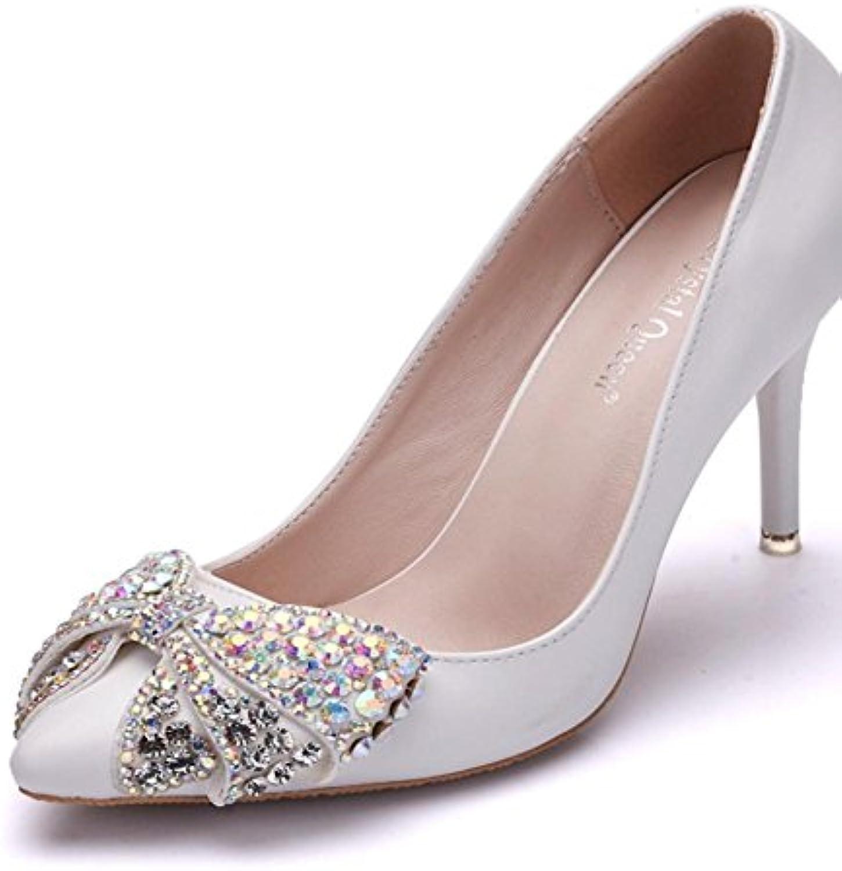 Boda Nupcial Zapatos Mujer Alto Tacón Noche Primavera Puntiagudo Señoras Corte Zapatos Blanco Diamante de imitación... -