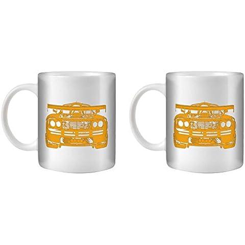 STUFF4 Taza de Café/Té 350ml/2 Pack Naranja/F1 GTR/Cerámica Blanca/ST10