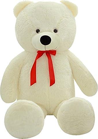 SHAIK® L-XXL Kuschel-Teddybär 100/150/180 cm (diag.) groß in Braun und Weiss - TÜV SÜD geprüft (X-Large,