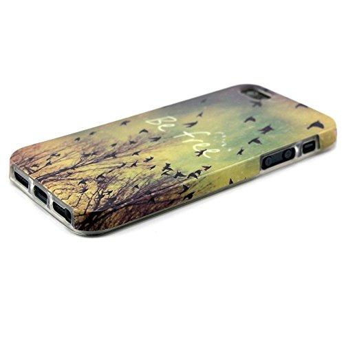 [A4E] Handyhülle passend für Apple iPhone 5 (5S, SE) aus TPU-Silikon, mit YOLO 'be free' Slogan, Vögeln und Baum (gelb, blau, schwarz, weiß) YOLO - be free