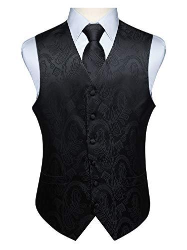Hisdern Manner Paisley Floral Jacquard Weste & Krawatte und Einstecktuch Weste Anzug Set, Schwarz-3, Gr.-3XL (Brust 54 Zoll) Schwarze Weste