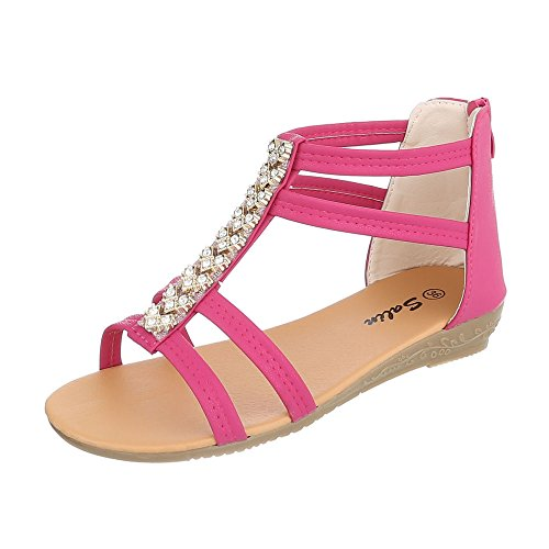 Sandalen Kinder-Schuhe Römersandalen Keilabsatz/ Wedge Mädchen Reißverschluss Ital-Design Sandalen Pink, Gr 26, A12C-