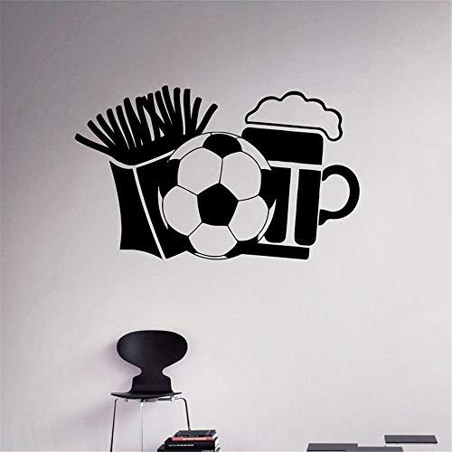 Suuyar Patatine Fritte Birra E Calcio Adesivi Murali Per Bar Wallpaper Art Sticker Vinyl Decalcomanie Soggiorno Hobby Murales 95X57Cm
