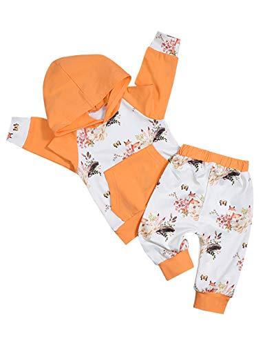 Baby Mädchen Kleidung Langarm Hoodie Sweatshirt Floral und Fox Print Hosen mit Kangaroo Pocket Infant Outfits Set -