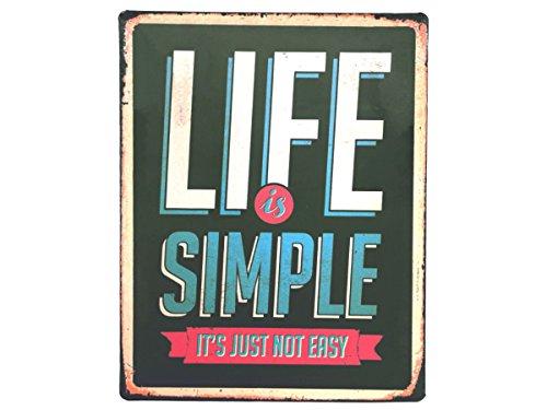 Alsino Metallschild Nostalgie Retro Deko Blechschild Metall Schild Antik Vintage Art Wandschild, Variante wählen:810651 Life is Simple