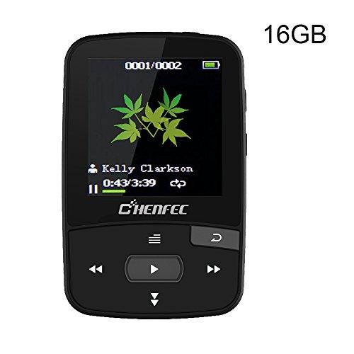luetooth 16GB mit MINI Clip MP3 Sport Musik Spieler shuffle Musik und FM Radio spielen, Erweiterbarer Micro SD Slot 64GB, Schwarz (Mir Auf Der Karte Buch)