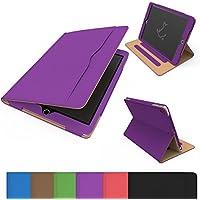 Custodia per iPad mini 4, esecutivo astuta Folio - copertura del cuoio del Faux caso per Apple iPad mini 4 (Viola e Abbronzatura)