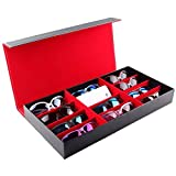 Watch-HLH 12-Cadre PU Lunettes boîte de Rangement Montre Montre Bijoux boîte de Rangement Organisateur pour Bijoux et Montre pour Lunettes (Couleur : Red)