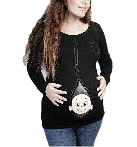 Mutterschaft Baby spähen Shirt lustige Schwangerschaft süß Ankündigung schwanger Langarm-Shirt (T-shir Langarm Lustig)