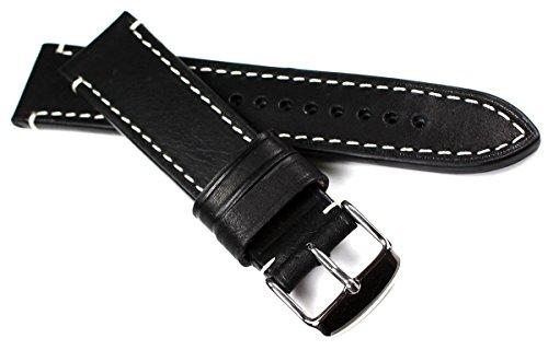 22mm / 20 mm RIOS1931 CT XL kräftiges Rindsleder Military Style Armband Retro Look quality STRAP Schwarz Weiße Naht Militär Marine Flieger Band Top Qualität