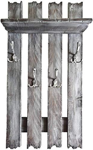 SHaBBy CHic ViNTaGe Holz Garderobe mit 4x3 Metallhaken grau (HXBXT: 1oox5ox15 cm) aus Echtholz/Massivholz im used look rustikal Landhaus Stil (alternativ: Gaderobe, Gardrobe)