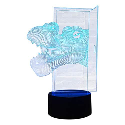 Jamicy® 3D Optical Illusion Lampe LED Nachtlichter Süßer Dinosaurier Modell, Touch Tischlampe Haus Dekoration 7 Farben Einzigartige Lichteffekte USB Kabel zum Kinder Geschenk (A15)