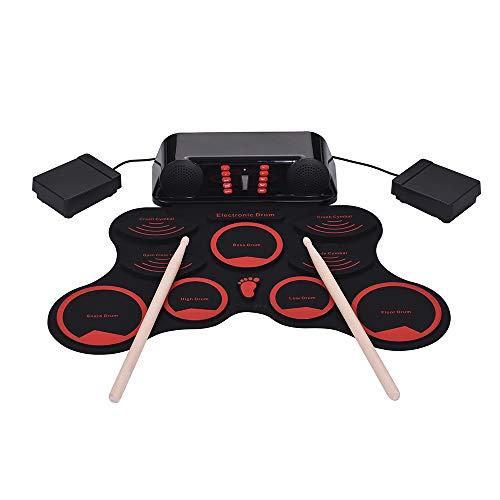 Muslady Tambor Enrollable, Kit de Batería Electrónica Digital Portátil 9 Pastillas de Batería de Silicona Altavoces Incorporados Dobles con Baquetas Pedales de Pie Cable USB Regalo Musical para Niños