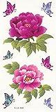 grashine Tatuajes Temporales Para Jóvenes, Niños, mujeres impermeable falsa bodytattoo (Lovely flores y los insectos, rosa y morado peonía y un par de mariposas)
