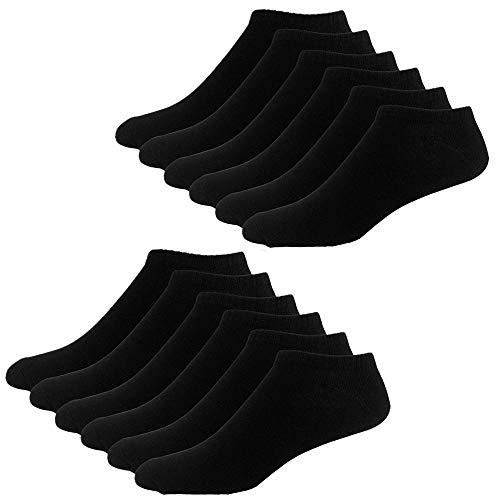YouShow Sneaker Socken Herren Damen 10 Paar Kurze Halbsocken Quarter Baumwolle Unisex(Schwarz,35-38)