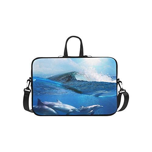 Delphin Unterwasser Auf Riff Look Muster Aktentasche Laptoptasche Messenger Schulter Arbeitstasche Crossbody Handtasche Für Geschäftsreisen